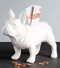 Spardose Bulli Bulldogge stehend aus Keramik weiss Hund Kunst Art Figur
