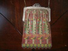 Vtg Art Deco Metal Mesh Wristlet Purse Handbag Geometric Aztec Pattern Enamel