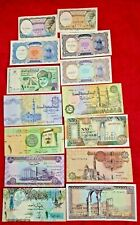 14 Middle East Paper Money Unc, Crisp Different Countries