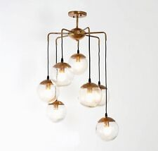 Mid Century Modern Bubbles Chandelier Brass and Glass Ceiling Light Lamp '70s