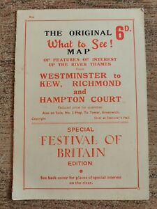 Festival of Britain 1951 What to See Map. Scarce original item.
