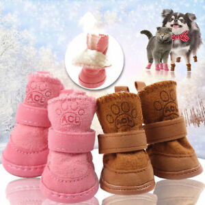 Warm Fleece Small Pet Dog Shoes Cute Paw Puppy Cat Shoes Anti-slip Snow Boots