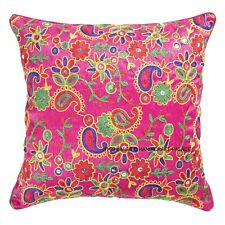 Pink Indian Ethnic Paisley Embroidered Silk Dupioni Cushion Covers Handmade 16""