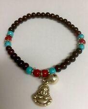 Good Luck Happy Buddha Black, Red, Turquoise Tone Bead  Lucky Bangle Bracelet