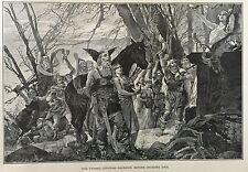 RARE -  1882 Steel Engraving, Franks Offering Sacrifice Before Invading Gaul