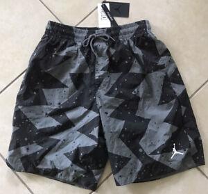"JORDAN JUMPMAN CEMENT POOLSIDE 9"" SHORTS  Black Gray CI9133 345 Nike Men L Sampl"