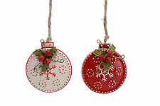 2x METAL DISC Bauble Decorazione con HOLLY Berry JINGLE BELL ROSSO BIANCO NATALE
