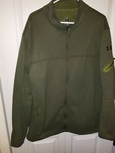 Under Armour Men's Size 2XL UA Storm Gray Jacket Sharpa Lined Olive Green Zipper