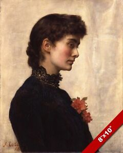 BEAUTIFUL WOMAN W FLOWER MARION COLLIER PORTRAIT PAINTING ART REAL CANVAS PRINT