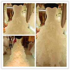 New Sweetheart Ruffle Maxi Wedding Dresses Cheap Online White Bride Gown Custom