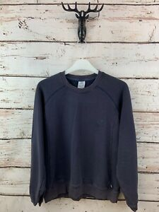 ADIDAS Womens Jumper Sweater 16 Blue Cotton Polyester Cropped Retro