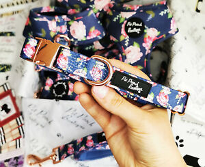 Sapphire Rose Gold Dog Collar - Puppy or Dog NEW
