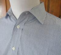EUC VTG BURBERRYS LONDON Mens 16.5/35 Blue White Striped L/S Button Front Shirt