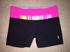 LULULEMON GROOVE SHORTS PINK BLACK ZIPPERED POCKET SZ 6