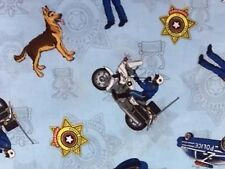 RPFMD02D Police Officer Police Dog Motorcycle Badge Cops Cotton Quilt Fabric