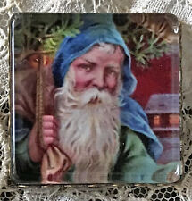 "OLD WORLD SANTA 1"" Square Glass  BUTTON Vintage Christmas Eve Card Blue Suit"