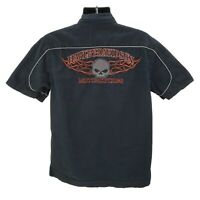 Harley-Davidson Motorcycle Button Down Garage Shop Shirt Mens Size Medium Skull