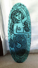 Cheri O'Brien Mermaid Platter Fused Paint on Glass 20.75 inches x 8.25 inches