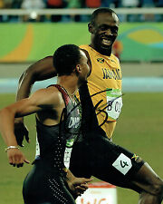 Usain Bolt RARE SIGNED Olympic Athlete 10x8 Race Photo AFTAL Autograph COA