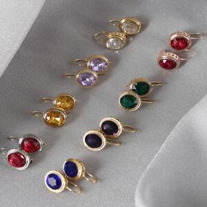 925 Silver Cubic Zirconia Ear Hook Dangle Drop Earrings Anniversary Jewelry Gift
