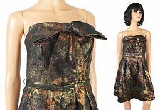 Strapless Prom Gown Sz 4 S Eva Franco Short Mini Dress Gold Black Bronze Copper