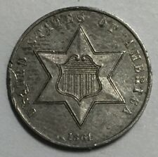 1861 Three Cent Silver AU Not Certified #