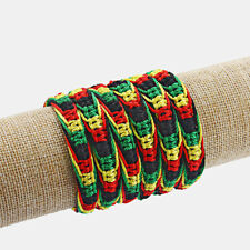 2pcs Handmade Cotton Silk Cord Rasta Hippie Jamaican Color Friendship Bracelet