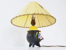 LAMPE DE TABLE TRIPODE ANNEES 50 CERAMIQUE NOIRE RAPHIA DE NYLON VINTAGE 50'S