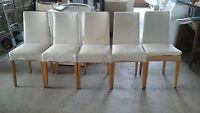 6 Stühle weiß stoffüberzogen mit Hussen Überzug Esszimmerstühle Wohnzimmer