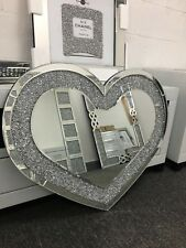 Sparkly 90cm Heart Shape Crushed Diamond Crystal Silver Bedroom Wall Mirror