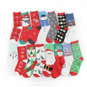 Women Cotton Snow Elk Christmas Tree New Year Christmas Socks Funny Happy Socks