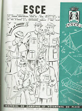 ANCIENNE PUBLICITE 1950  ESCE MATERIELS DE CAMPING VETEMENTS CHASSE    AD pub