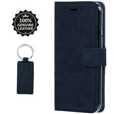 SURAZO Premium Echtes Ledertasche Handyhülle Case Cover Etui - Nubuk Blau