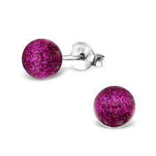Cerise Round Ball Plastic Sterling Silver Stud Earrings 6MM