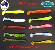 50 Soft Plastic Paddle Tail Fishing Lure Tackle Grub Worm bream Redfin Cod lures