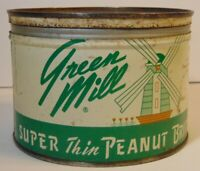 Vintage 1950s GREEN MILL GRAPHIC KEYWIND TIN CAN 1 POUND KANSAS CITY MISSOURI KC