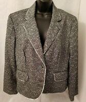 Focus 2000 Women Black White Green Design Button Down Blazer Jacket Coat Size 16