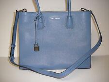 Michael Kors Denim Leather Mercer Large Convertible Tote Shoulder Bag New