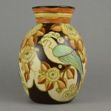 Boch Frères Keramis Vase Ovoïde d'époque Art Déco à Décor Stylisé 2781 C. 1925