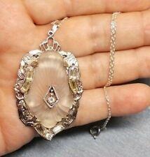 Antique 1920 Camphor Glass Flower Rock Crystal Orchid Rhodium Pot Metal Rhinest