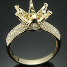 14k Yellow Gold Pave 0.36ct Diamond Semi-Mount Engagement Ring Setting Round 9mm