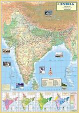 India Physical Map School Map Wall Map (Soil & Natural Vegetation +2 other maps)