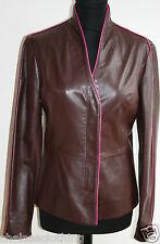 £ 2,000 Nouveau CERRUTI Veste/Blazer en cuir véritable marron/rose petit/IT42/UK10/D36