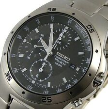 Seiko Men's Titanium Chronograph 100m Watch SND419 SND419P1   WARRANTY&GIFT BOX
