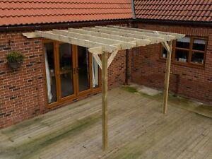 Wooden Lean-To Garden Pergola Kit Dinasty Design - 21 Size and 2 Colour Options