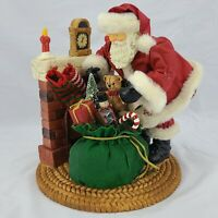 Santa Claus Figurine Christmas Sculpture, Santa by Fireplace Tree with Presents