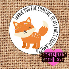 Personalised fox flowers 24 party bag stickers sweet cone labels thank you c1
