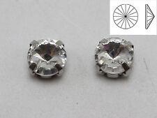 50 Silver Clear Crystal Rivoli Rhinestones Glass Rose Montees 8mm Sew on Beads