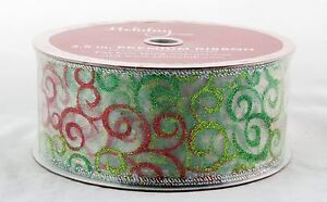 Red Green Sparkle Swirl on Sheer Wide Wired Ribbon 50 yards NEW christmas 2.5 in