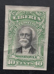 Liberia # F13 Color Proof in Green on Paper (Full OG) (crease)